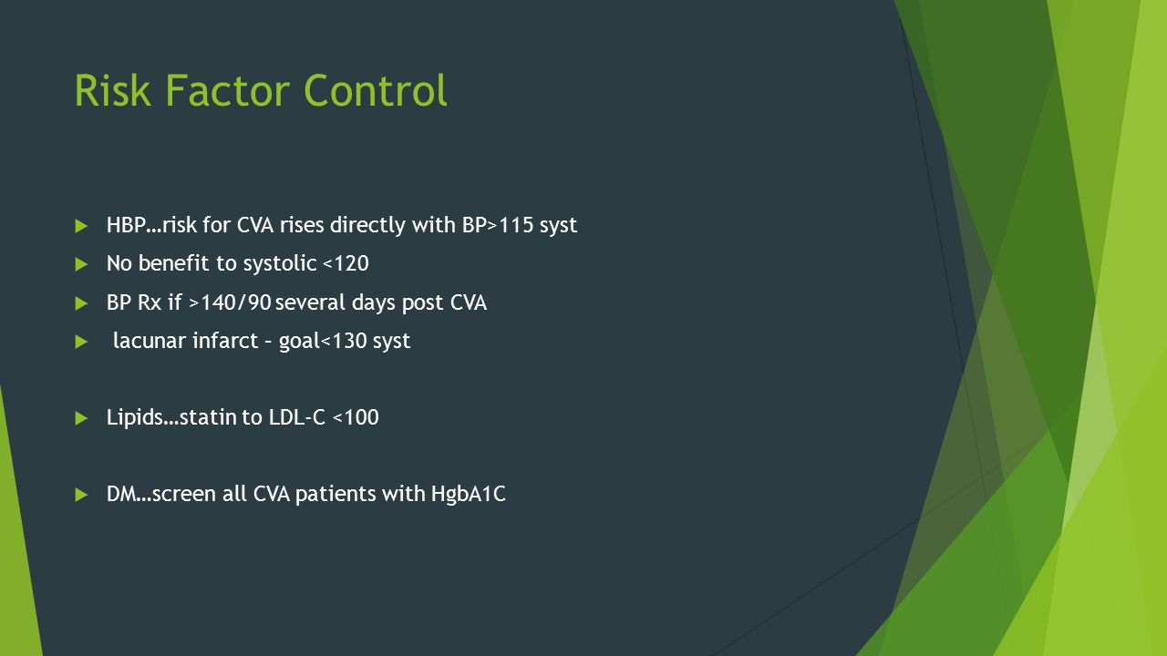 Risk Factor Control  HBP…risk for CVA rises directly with BP>115 syst  No benefit to systolic <120  BP Rx if >140/90 several days post CVA  lacunar infarct – goal<130 syst  Lipids…statin to LDL-C <100  DM…screen all CVA patients with HgbA1C