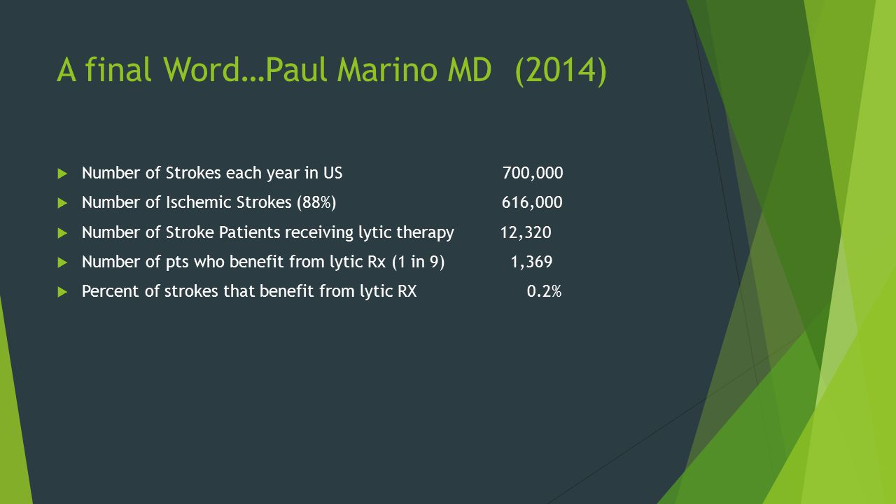 A final Word…Paul Marino MD (2014)  Number of Strokes each year in US 700,000  Number of Ischemic Strokes (88%) 616,000  Number of Stroke Patients receiving lytic therapy 12,320  Number of pts who benefit from lytic Rx (1 in 9) 1,369  Percent of strokes that benefit from lytic RX 0.2%