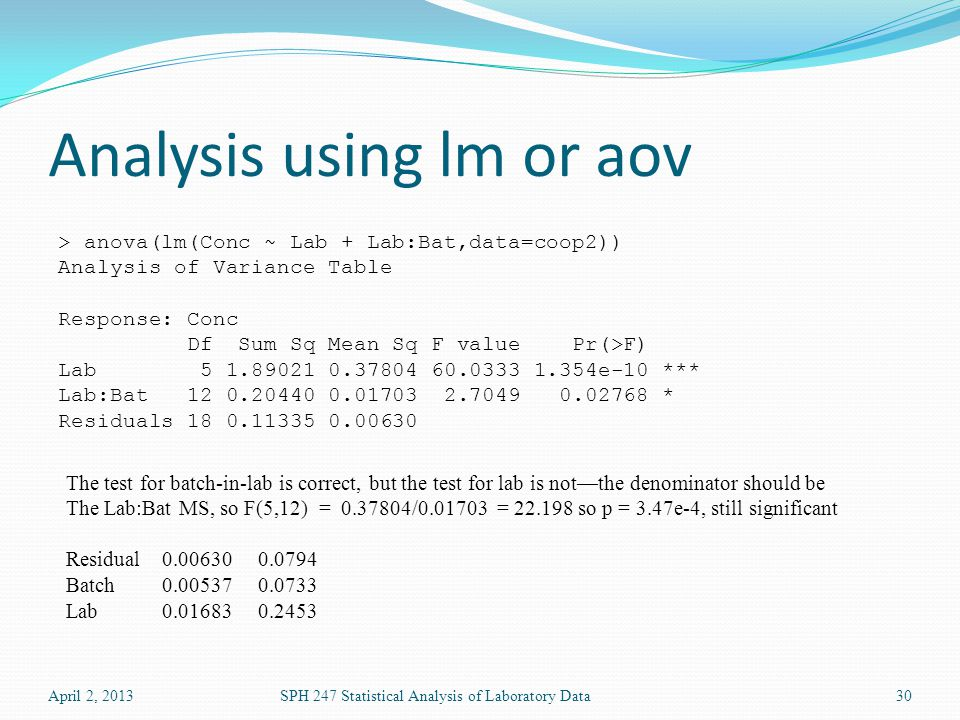 Analysis using lm or aov April 2, 2013SPH 247 Statistical Analysis of Laboratory Data30 > anova(lm(Conc ~ Lab + Lab:Bat,data=coop2)) Analysis of Variance Table Response: Conc Df Sum Sq Mean Sq F value Pr(>F) Lab 5 1.89021 0.37804 60.0333 1.354e-10 *** Lab:Bat 12 0.20440 0.01703 2.7049 0.02768 * Residuals 18 0.11335 0.00630 The test for batch-in-lab is correct, but the test for lab is not—the denominator should be The Lab:Bat MS, so F(5,12) = 0.37804/0.01703 = 22.198 so p = 3.47e-4, still significant Residual0.00630 0.0794 Batch 0.005370.0733 Lab0.016830.2453
