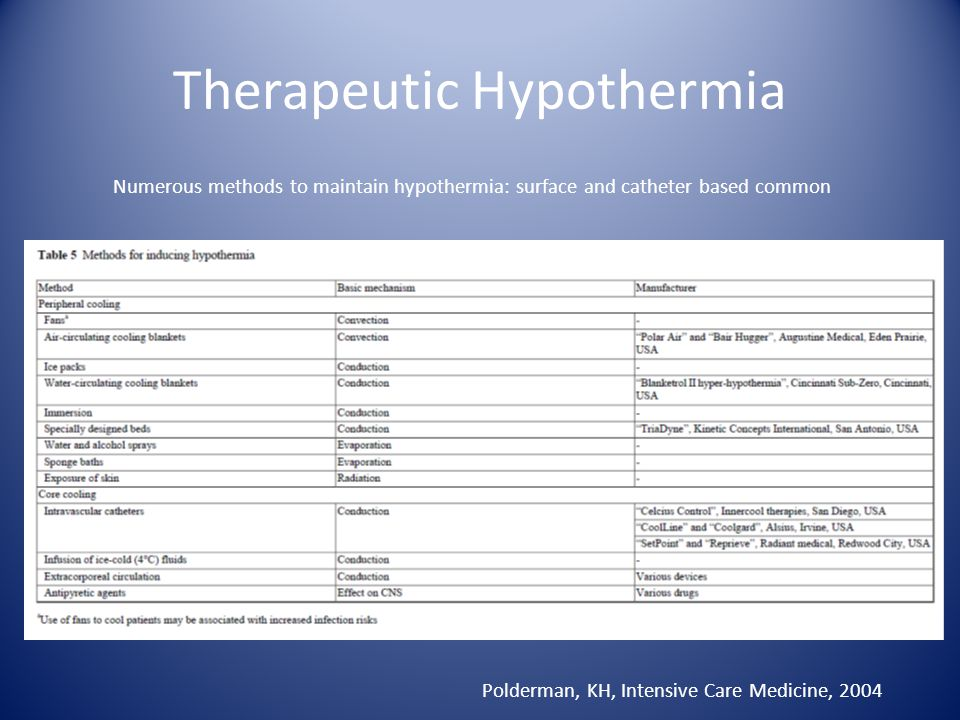 Therapeutic Hypothermia Polderman, KH, Intensive Care Medicine, 2004 Numerous methods to maintain hypothermia: surface and catheter based common