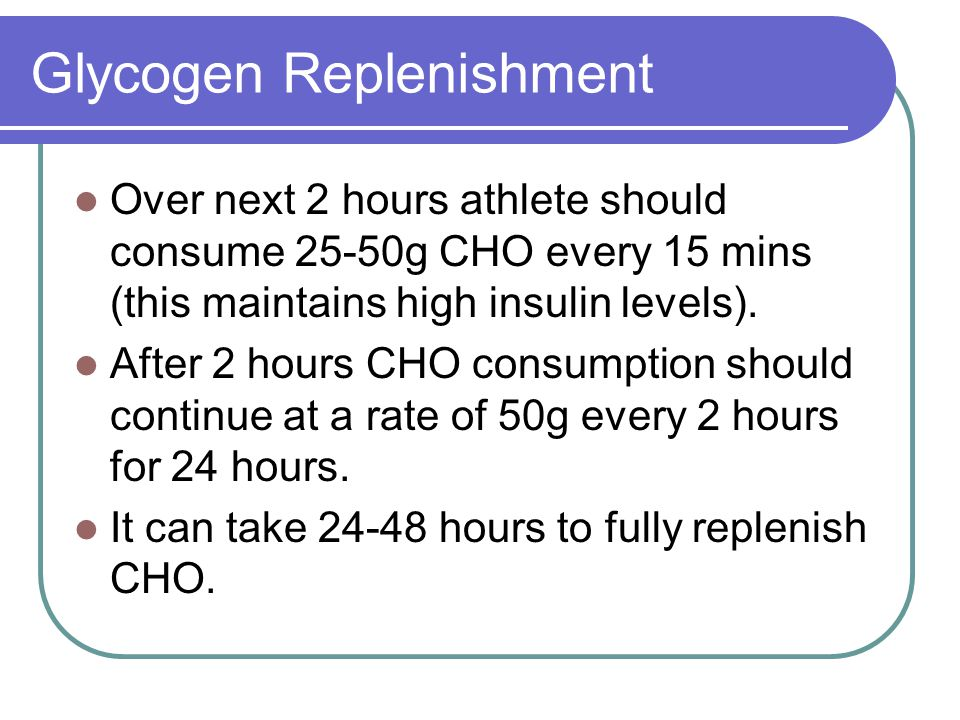 Glycogen Replenishment Over next 2 hours athlete should consume 25-50g CHO every 15 mins (this maintains high insulin levels).