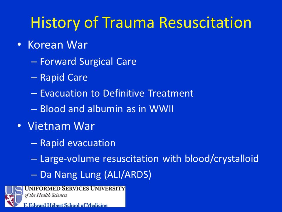 History of Trauma Resuscitation Civilian Experience – Trauma Registries and Research – Empiric high-volume crystalloid resuscitation – Iatrogenic Coagulopathy after Trauma recognized – Directed Component Therapy Requires Laboratory evidence Empiric therapy limited – Massive Transfusion Protocols