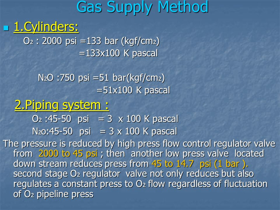 Gas Supply Method 1.Cylinders: 1.Cylinders: O 2 : 2000 psi =133 bar (kgf/cm 2 ) O 2 : 2000 psi =133 bar (kgf/cm 2 ) =133x100 K pascal =133x100 K pasca