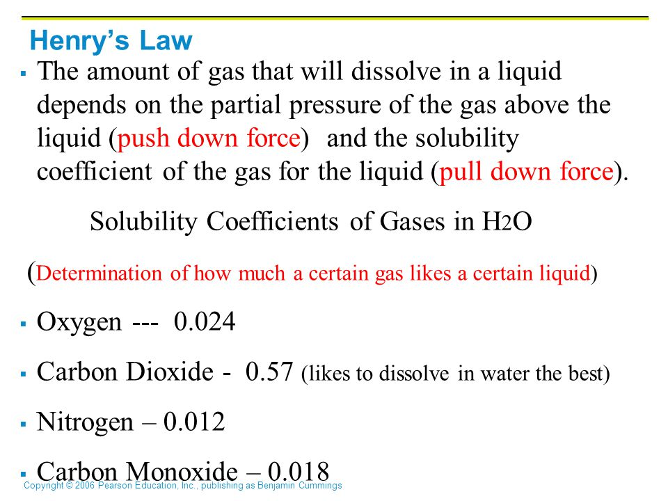 Copyright © 2006 Pearson Education, Inc., publishing as Benjamin Cummings Henry's Law  The amount of gas that will dissolve in a liquid depends on the partial pressure of the gas above the liquid (push down force) and the solubility coefficient of the gas for the liquid (pull down force).