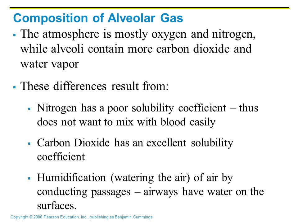 Copyright © 2006 Pearson Education, Inc., publishing as Benjamin Cummings Composition of Alveolar Gas  The atmosphere is mostly oxygen and nitrogen, while alveoli contain more carbon dioxide and water vapor  These differences result from:  Nitrogen has a poor solubility coefficient – thus does not want to mix with blood easily  Carbon Dioxide has an excellent solubility coefficient  Humidification (watering the air) of air by conducting passages – airways have water on the surfaces.
