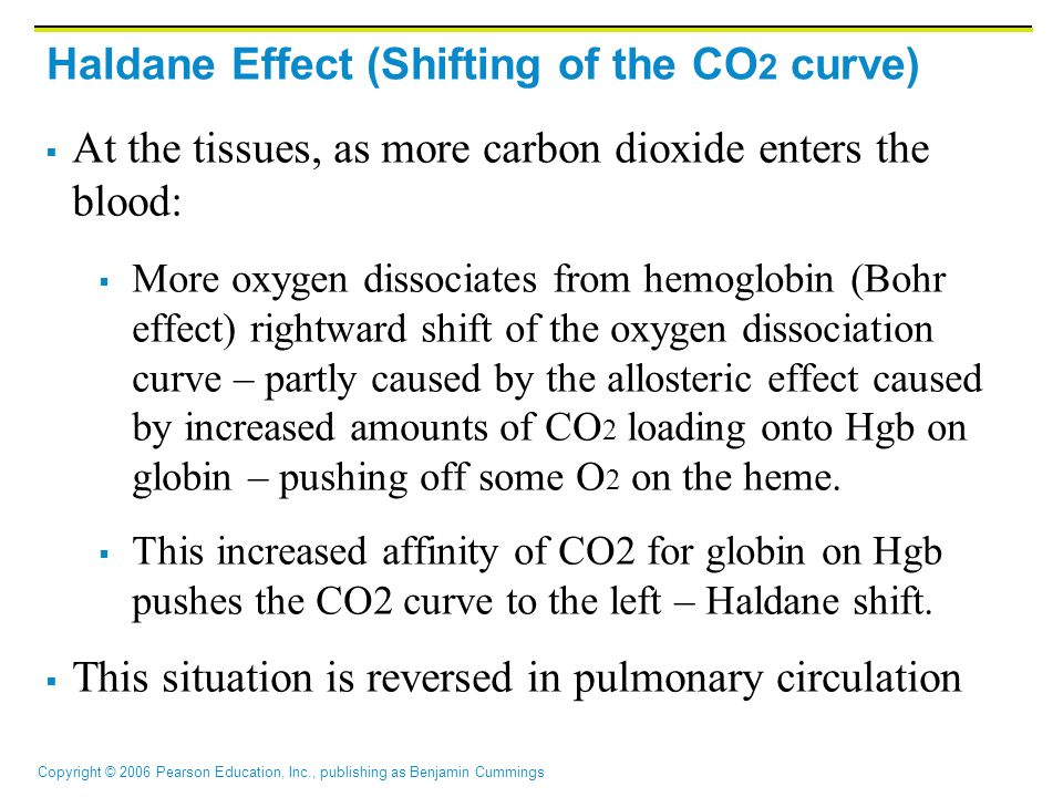 Copyright © 2006 Pearson Education, Inc., publishing as Benjamin Cummings Haldane Effect (Shifting of the CO 2 curve)  At the tissues, as more carbon dioxide enters the blood:  More oxygen dissociates from hemoglobin (Bohr effect) rightward shift of the oxygen dissociation curve – partly caused by the allosteric effect caused by increased amounts of CO 2 loading onto Hgb on globin – pushing off some O 2 on the heme.