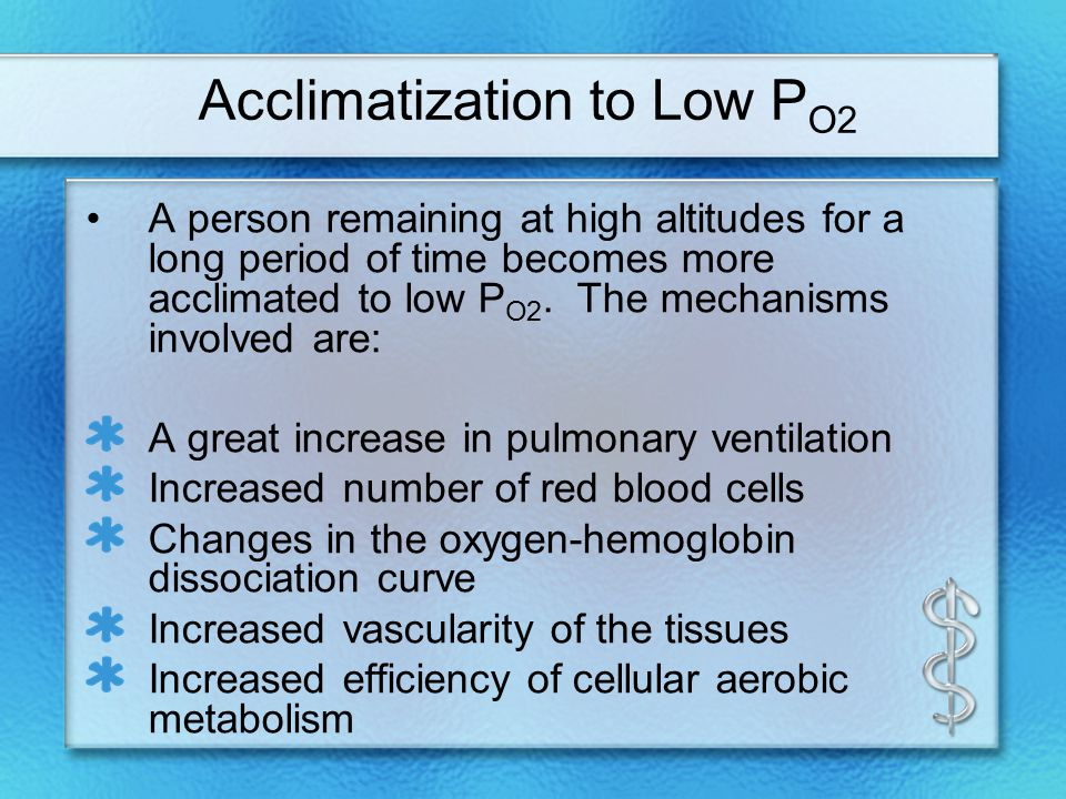 Acclimatization to Low P O2 A person remaining at high altitudes for a long period of time becomes more acclimated to low P O2.