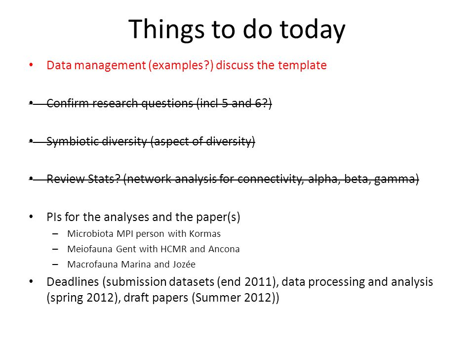 Things to do today Data management (examples?) discuss the template Confirm research questions (incl 5 and 6?) Symbiotic diversity (aspect of diversity) Review Stats.