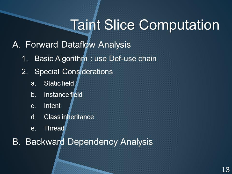 Taint Slice Computation A. A.Forward Dataflow Analysis 1.