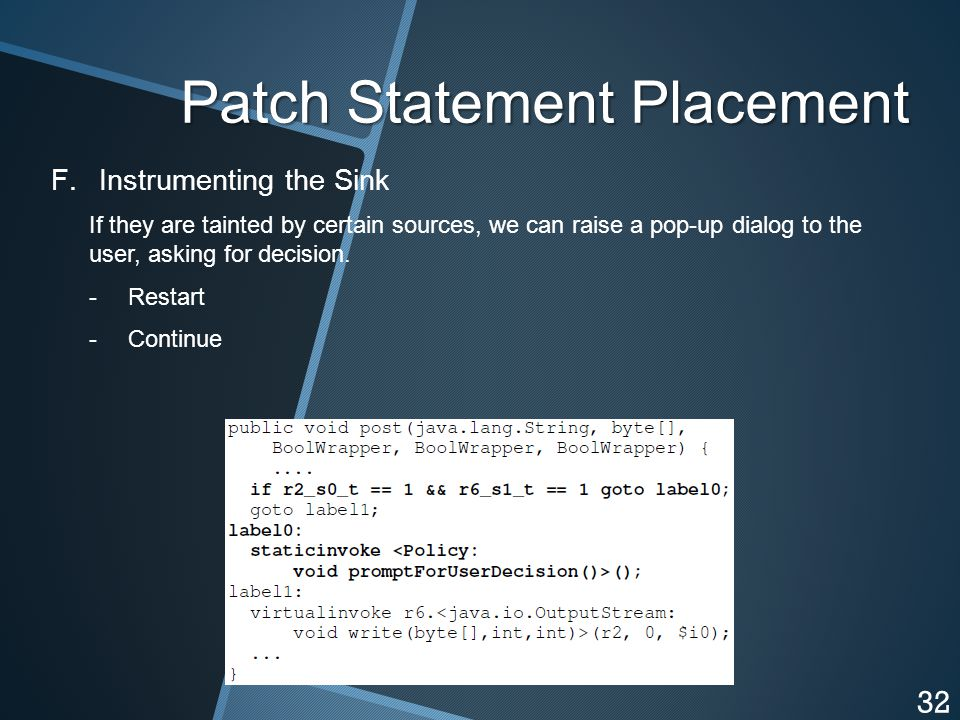 Patch Statement Placement F.