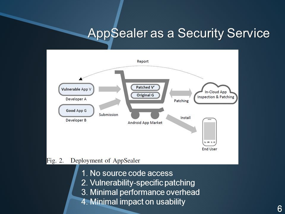AppSealer as a Security Service 6 1. No source code access 2.