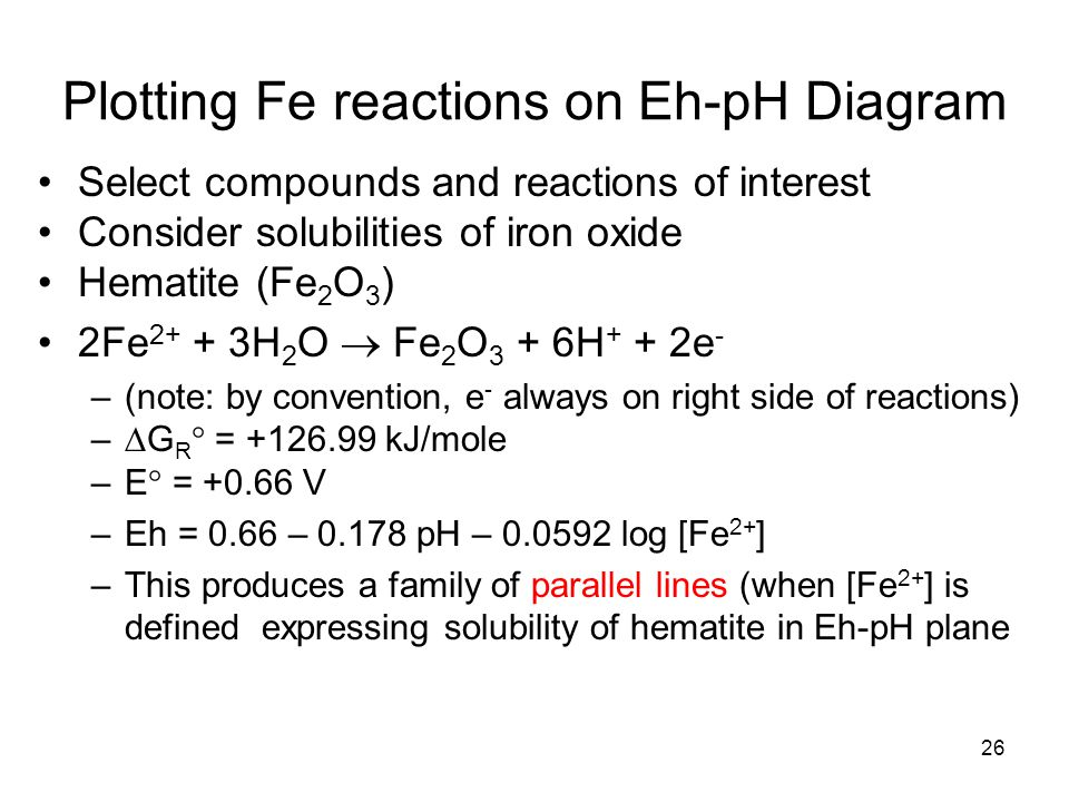 Plotting Fe reactions on Eh-pH Diagram Select compounds and reactions of interest Consider solubilities of iron oxide Hematite (Fe 2 O 3 ) 2Fe 2+ + 3H 2 O  Fe 2 O 3 + 6H + + 2e - –(note: by convention, e - always on right side of reactions) –  G R  = +126.99 kJ/mole –E  = +0.66 V –Eh = 0.66 – 0.178 pH – 0.0592 log [Fe 2+ ] –This produces a family of parallel lines (when [Fe 2+ ] is defined expressing solubility of hematite in Eh-pH plane 26