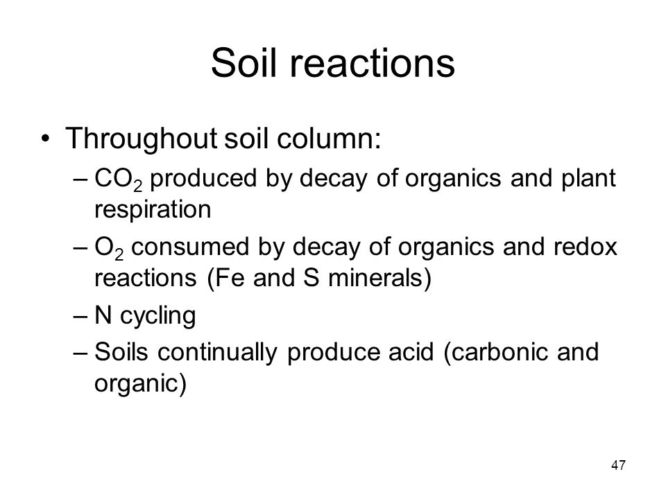 Soil reactions Throughout soil column: –CO 2 produced by decay of organics and plant respiration –O 2 consumed by decay of organics and redox reactions (Fe and S minerals) –N cycling –Soils continually produce acid (carbonic and organic) 47