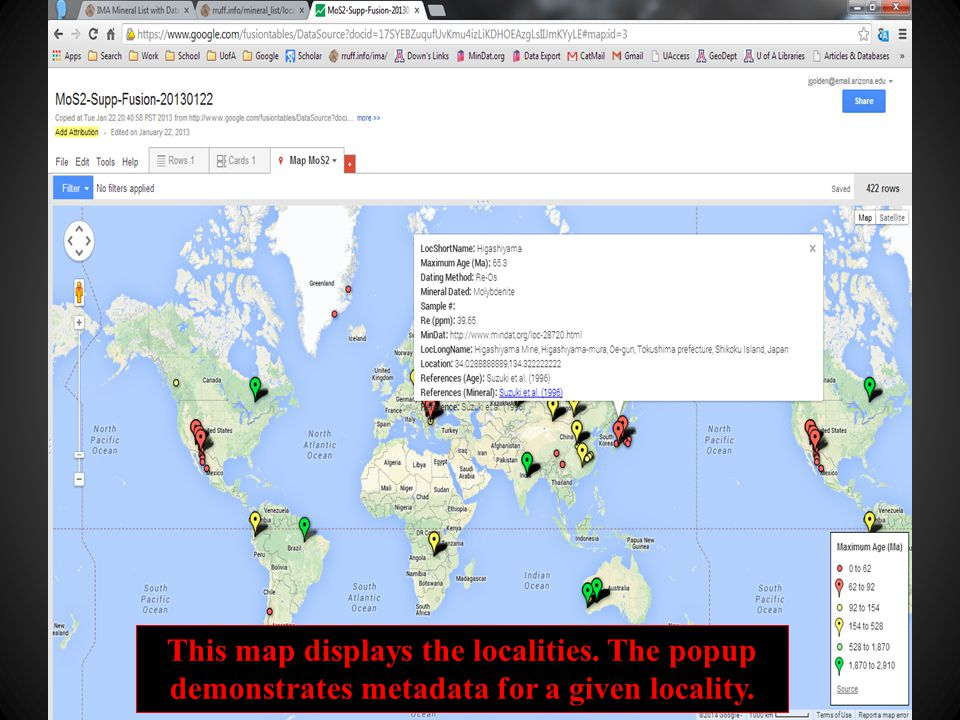 This map displays the localities. The popup demonstrates metadata for a given locality.
