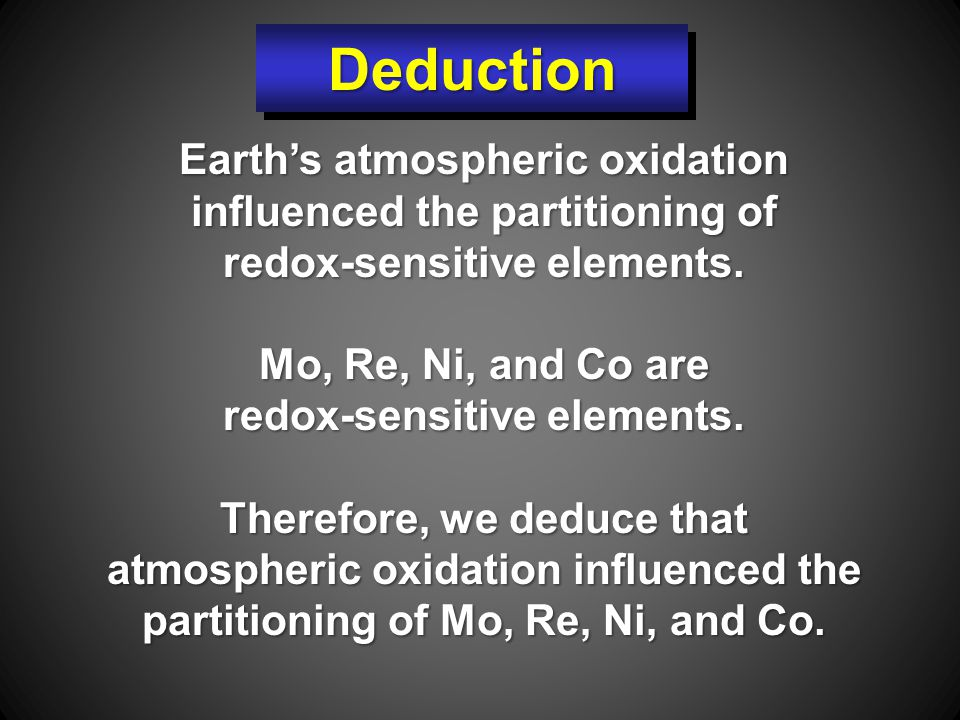 Earth's atmospheric oxidation influenced the partitioning of redox-sensitive elements.