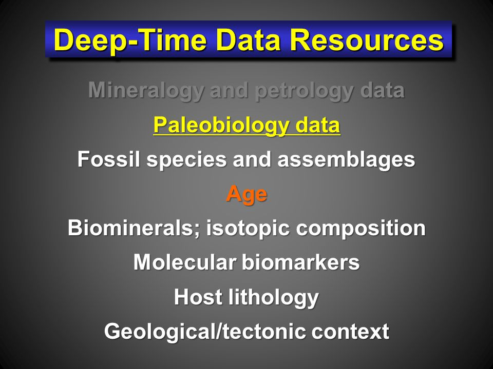 Mineralogy and petrology data Paleobiology data Fossil species and assemblages Age Biominerals; isotopic composition Molecular biomarkers Host lithology Geological/tectonic context Deep-Time Data Resources