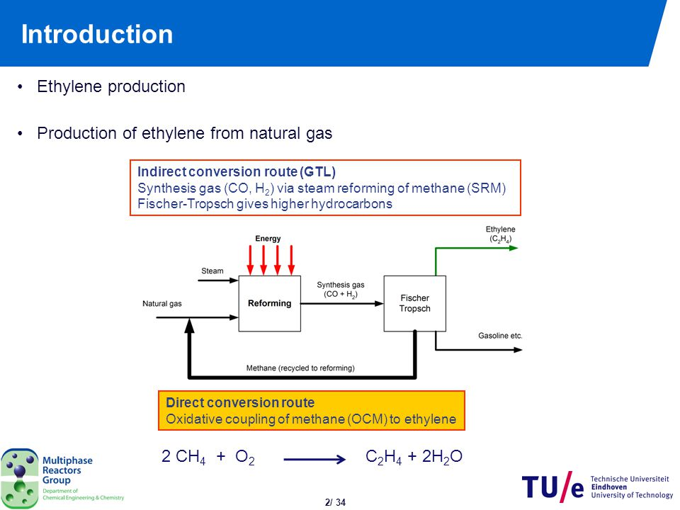 2/ 34 Introduction Ethylene production Production of ethylene from natural gas Indirect conversion route (GTL) Synthesis gas (CO, H 2 ) via steam refo