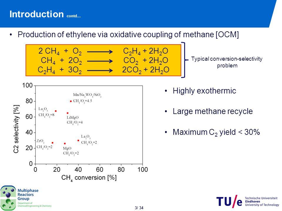 4/ 34 Kinetics of OCM Reaction scheme Formation rates of C 2 H 4, C 2 H 6 and CO 2 (primary reactions) 2 CH 4 + ½ O 2  C 2 H 6 + H 2 O n = 1.0 m = 0.352 CH 4 + 2 O 2  CO 2 + 2 H 2 O n = 0.587 m = 1 Distributive O 2 feeding = membrane reactor