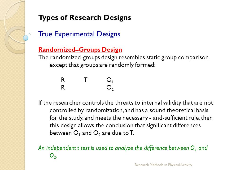 Research Methods in Physical Activity Types of Research Designs True Experimental Designs Randomized–Groups Design The randomized-groups design resemb