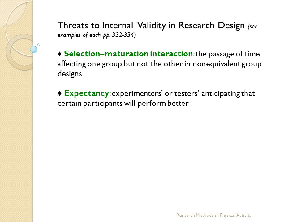threats to research validity Threats to validity find this and many other dissertation guides and resources at wwwdissertationrecipescom if you plan to do or review an experimental study, then you need to be aware of the following.