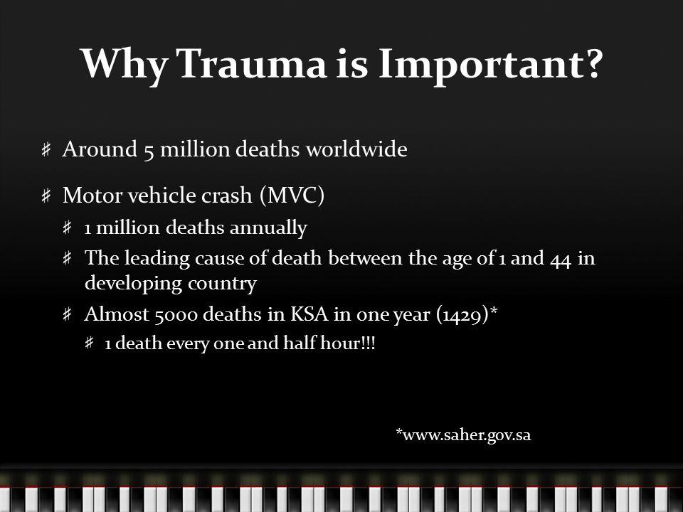 Trimodal death phases Immediate death ( --- ) Brain, spine, CV Early death ( --- ) Brain bleed, rupture organ Late death ( --- ) Infection, organ failure