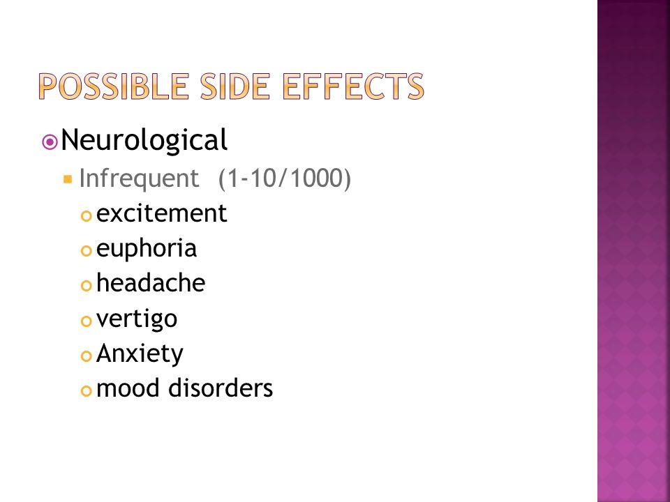  Neurological  Infrequent (1-10/1000) excitement euphoria headache vertigo Anxiety mood disorders