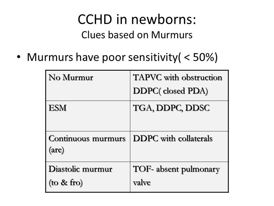 CCHD in newborns: Clues based on Murmurs Murmurs have poor sensitivity( < 50%) No Murmur TAPVC with obstruction DDPC( closed PDA) ESM TGA, DDPC, DDSC