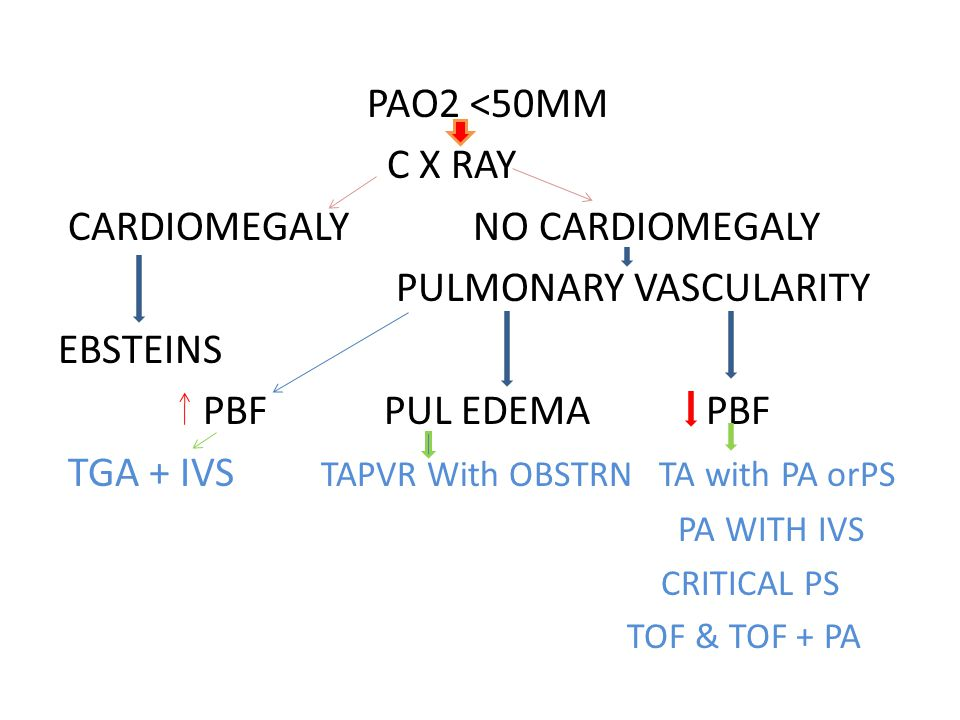 PAO2 <50MM C X RAY CARDIOMEGALY NO CARDIOMEGALY PULMONARY VASCULARITY EBSTEINS PBF PUL EDEMA PBF TGA + IVS TAPVR With OBSTRN TA with PA orPS PA WITH I