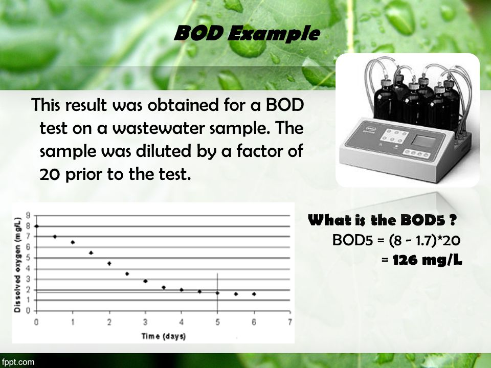 BOD Example This result was obtained for a BOD test on a wastewater sample. The sample was diluted by a factor of 20 prior to the test. What is the BO