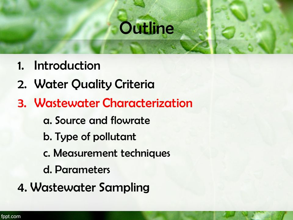 Measurement of Organic Content Mostly overall content measured: –Total organic carbon: TOC –Biochemical oxygen demand: BOD –Chemical oxygen demand: COD BOD & COD most commonly used for design and effluent specifications
