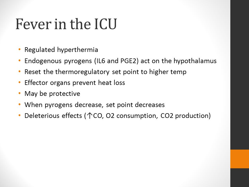 Hyperthermia Failure of effector mechanisms to maintain the hypothalamic set point (core ≥ 40°C) Heat stroke Drug induced hyperthermias (MH, NMS, Serotonin syndrome, sympathomimetic syndrome, anticholinergic syndrome) Heat injury is the insult Protein denaturation and lipid dissolution at 42°C (core)