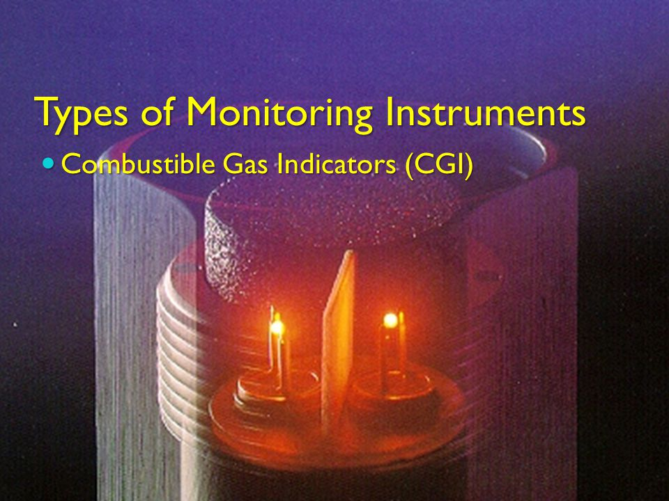 Types of Monitoring Instruments Combustible Gas Indicators (CGI) Combustible Gas Indicators (CGI)