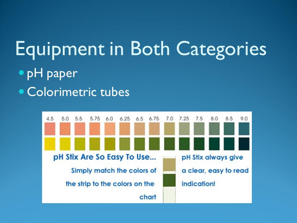 Equipment in Both Categories pH paper Colorimetric tubes