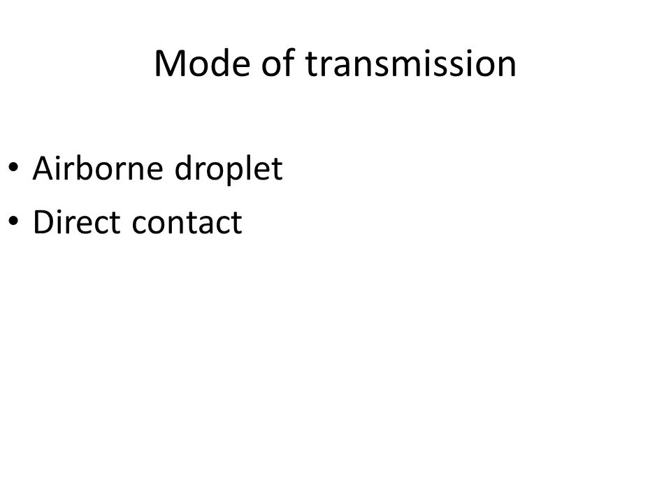 Mode of transmission Airborne droplet Direct contact