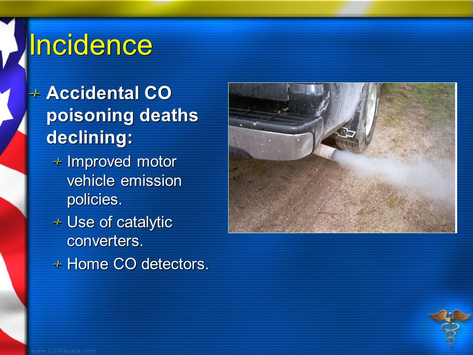 Incidence Accidental CO poisoning deaths declining: Improved motor vehicle emission policies.