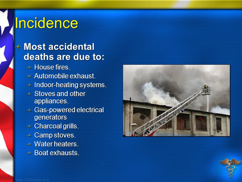 Incidence Most accidental deaths are due to: House fires.