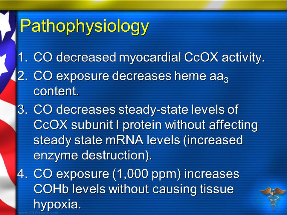 Pathophysiology 1.CO decreased myocardial CcOX activity. 2.CO exposure decreases heme aa 3 content. 3.CO decreases steady-state levels of CcOX subunit