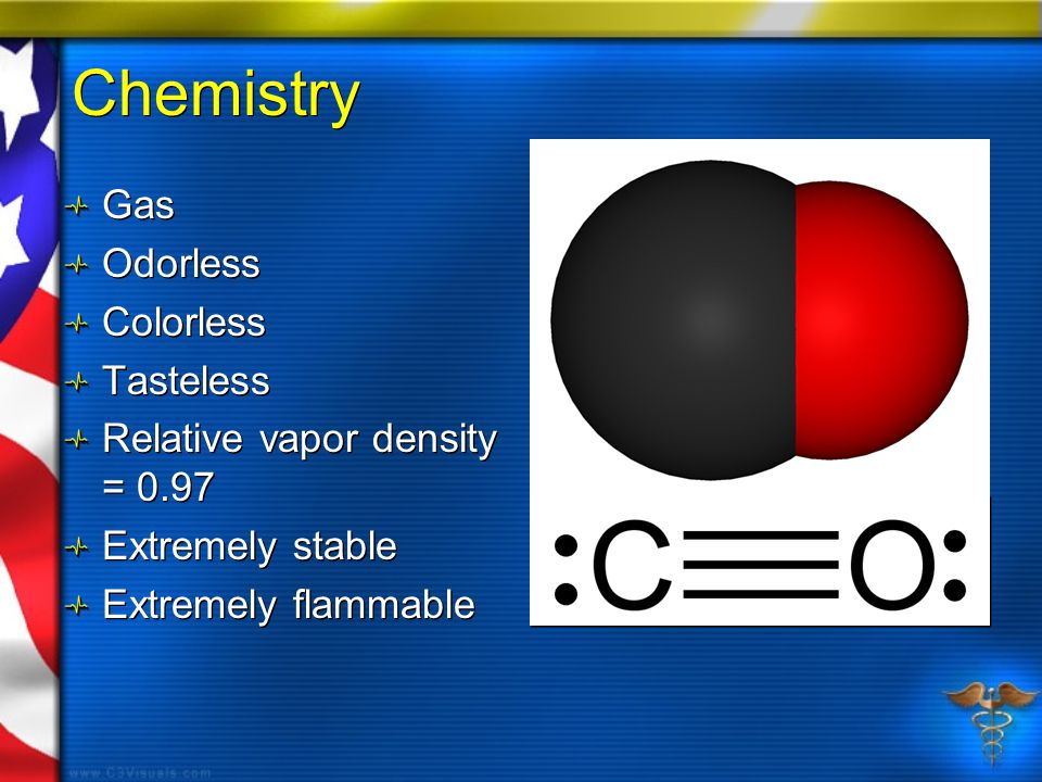 Chemistry Gas Odorless Colorless Tasteless Relative vapor density = 0.97 Extremely stable Extremely flammable Gas Odorless Colorless Tasteless Relative vapor density = 0.97 Extremely stable Extremely flammable