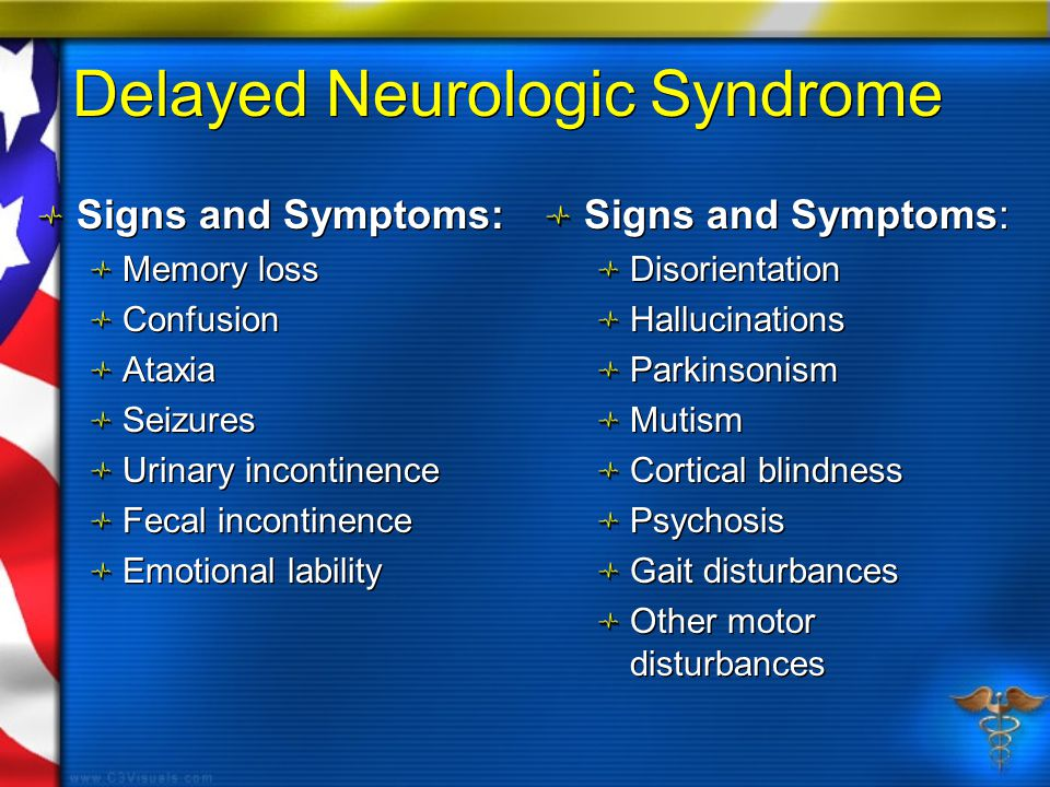 Delayed Neurologic Syndrome Signs and Symptoms: Memory loss Confusion Ataxia Seizures Urinary incontinence Fecal incontinence Emotional lability Signs and Symptoms: Memory loss Confusion Ataxia Seizures Urinary incontinence Fecal incontinence Emotional lability Signs and Symptoms: Disorientation Hallucinations Parkinsonism Mutism Cortical blindness Psychosis Gait disturbances Other motor disturbances