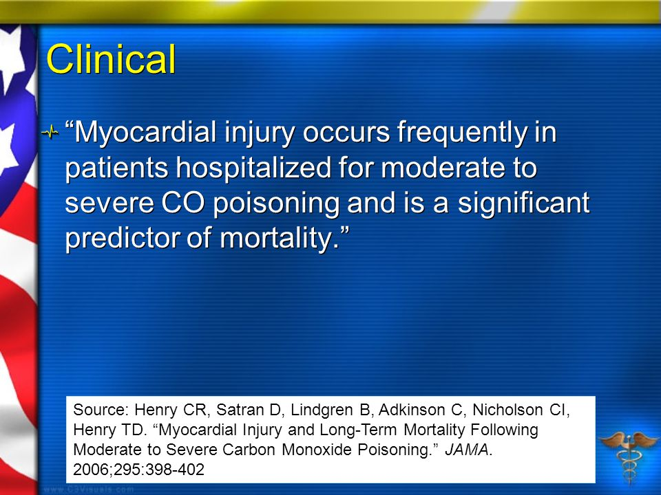 Clinical Myocardial injury occurs frequently in patients hospitalized for moderate to severe CO poisoning and is a significant predictor of mortality. Source: Henry CR, Satran D, Lindgren B, Adkinson C, Nicholson CI, Henry TD.