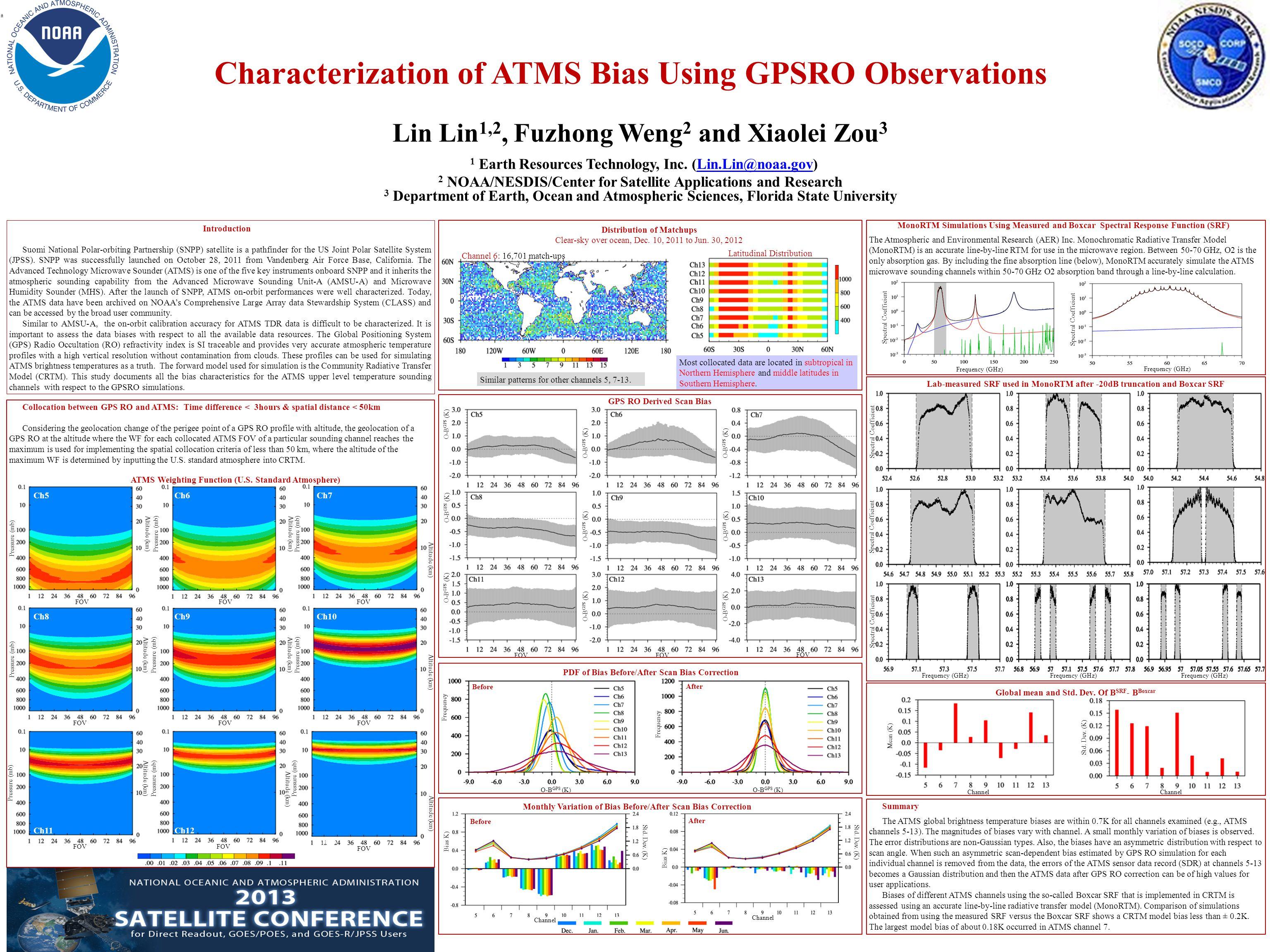 Characterization of ATMS Bias Using GPSRO Observations Lin Lin 1,2, Fuzhong Weng 2 and Xiaolei Zou 3 1 Earth Resources Technology, Inc.