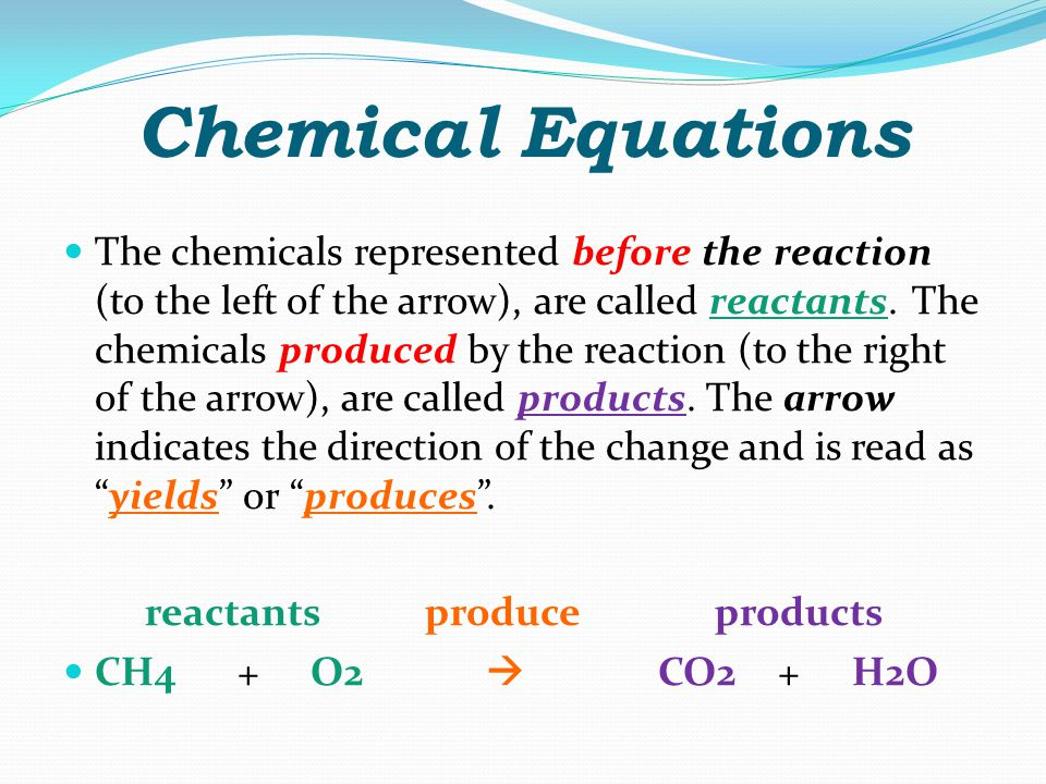 Chemical Reaction Between O 2 & CH 4 We represent this chemical reaction by writing a chemical equation.
