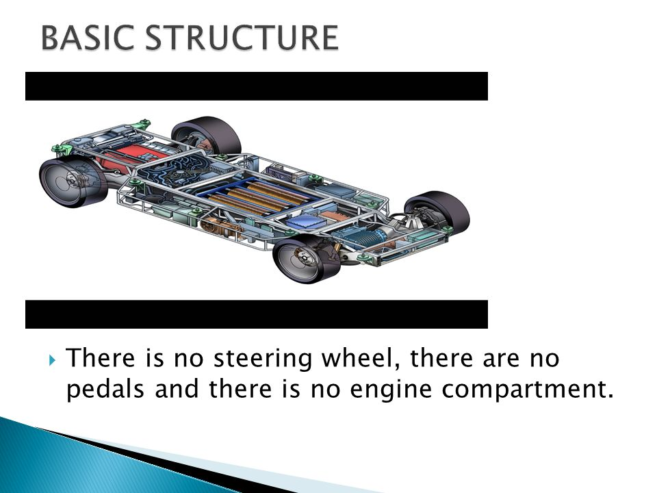  Every piece of equipment that actually moves the car along the road is housed in an 11-inch-thick (28 cm) aluminium chassis at the base of the car.