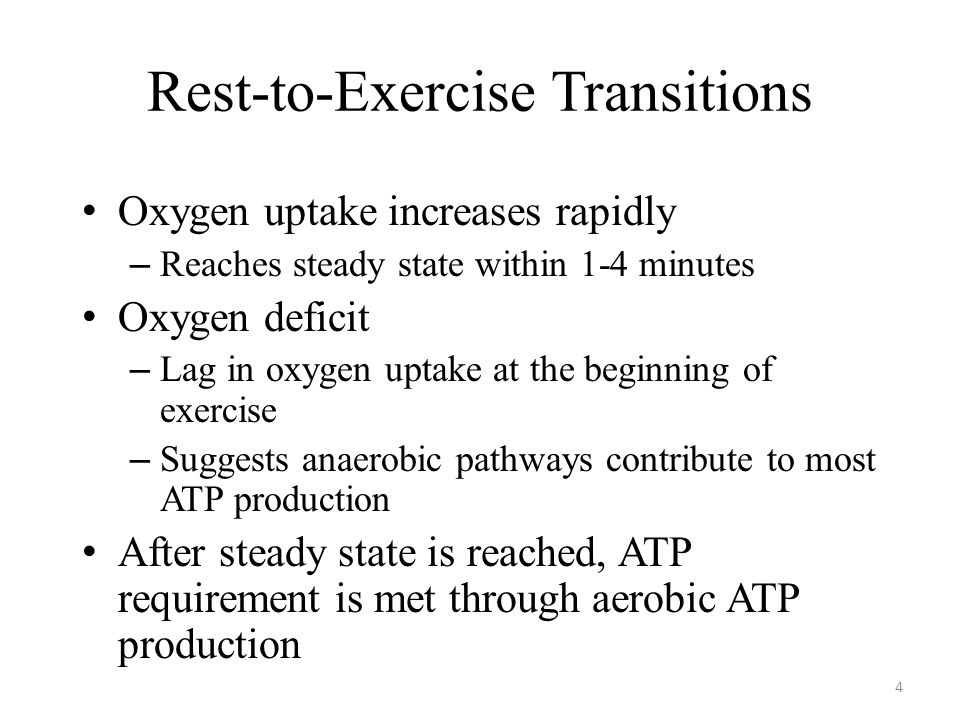 Rest-to-Exercise Transitions Oxygen uptake increases rapidly – Reaches steady state within 1-4 minutes Oxygen deficit – Lag in oxygen uptake at the beginning of exercise – Suggests anaerobic pathways contribute to most ATP production After steady state is reached, ATP requirement is met through aerobic ATP production 4