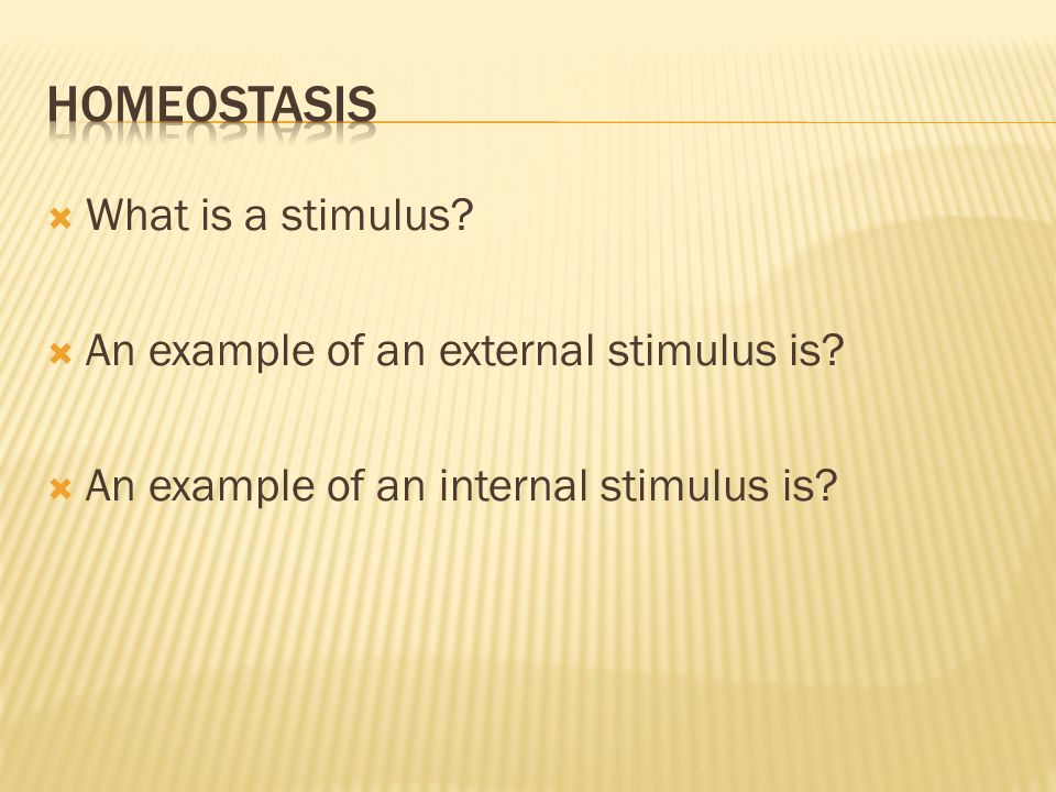  What is a stimulus?  An example of an external stimulus is?  An example of an internal stimulus is?