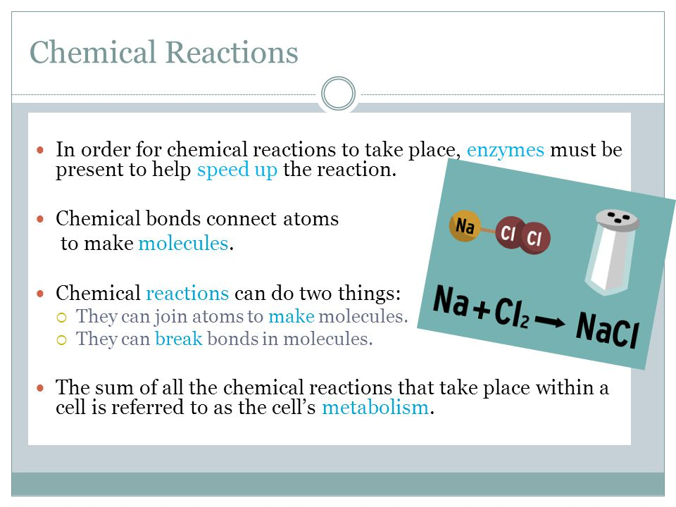 Chemical Reactions In order for chemical reactions to take place, enzymes must be present to help speed up the reaction. Chemical bonds connect atoms
