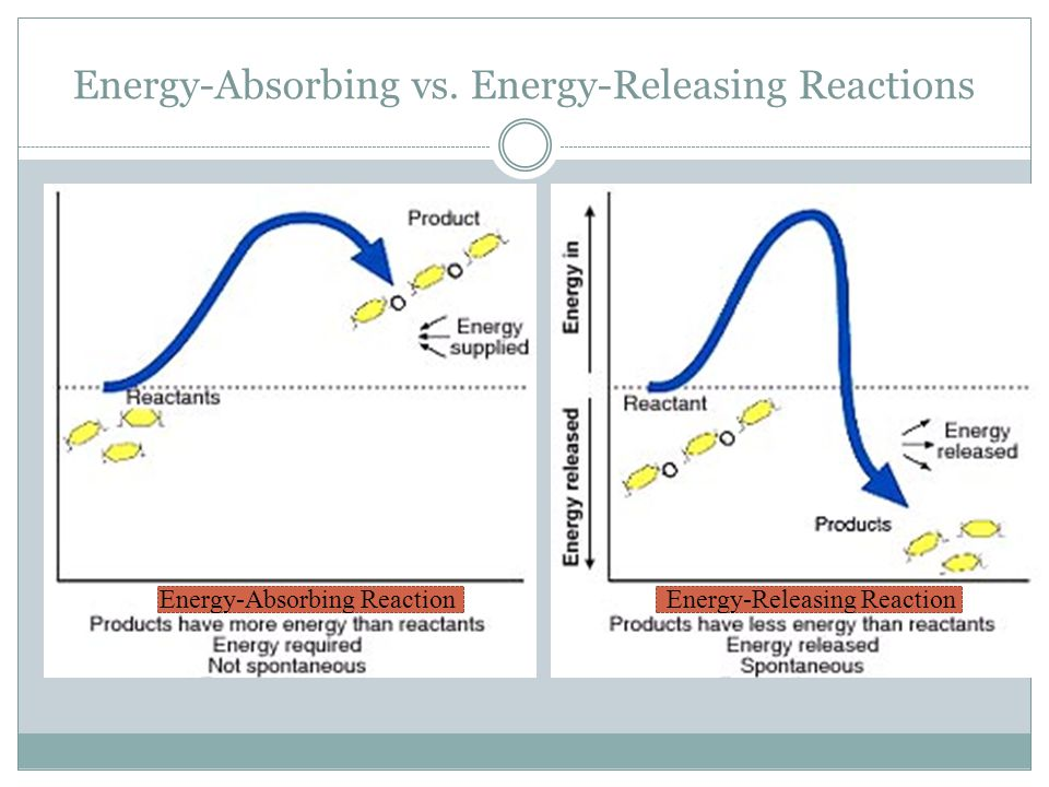 Energy-Absorbing vs. Energy-Releasing Reactions Energy-Absorbing Reaction Endothermic Reaction Energy-Releasing Reaction