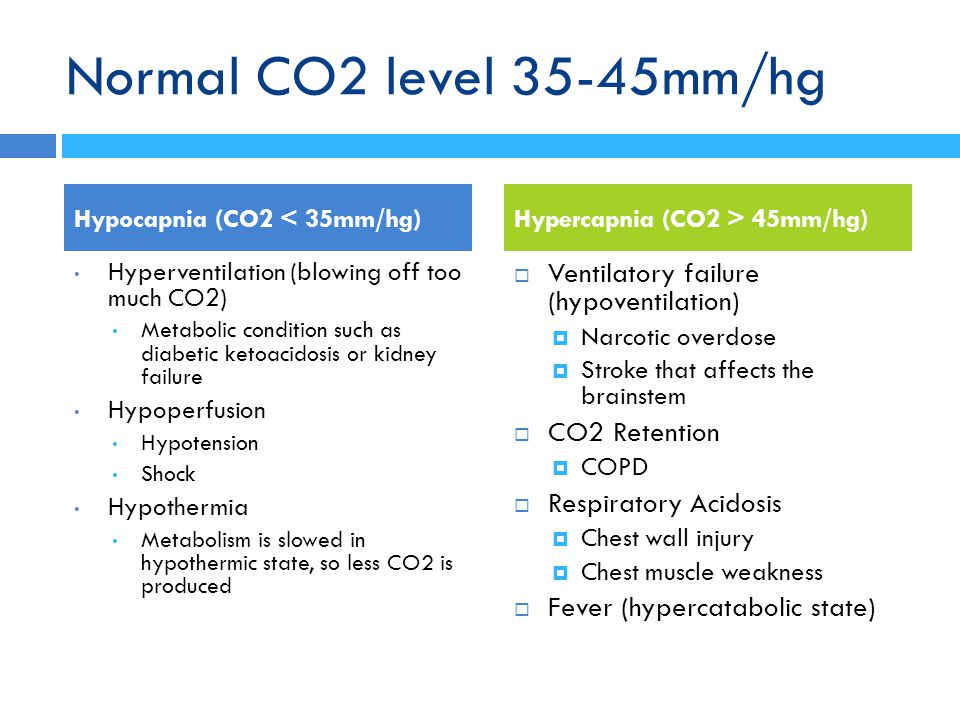 Normal CO2 level 35-45mm/hg Hypocapnia (CO2 < 35mm/hg) Hyperventilation (blowing off too much CO2) Metabolic condition such as diabetic ketoacidosis o