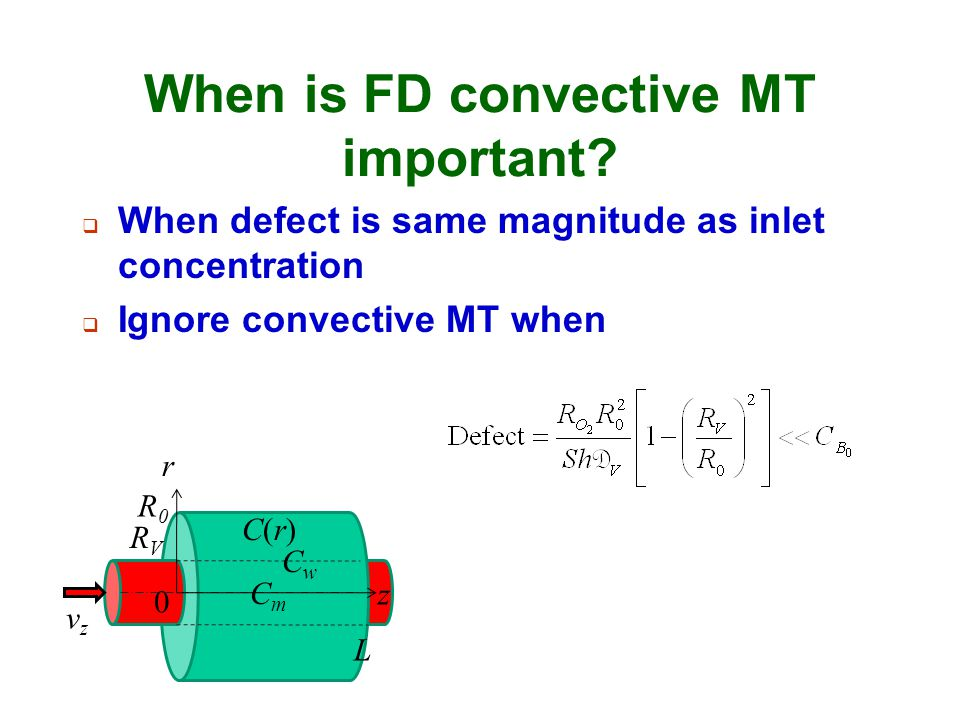 When is FD convective MT important?  When defect is same magnitude as inlet concentration  Ignore convective MT when r RVRV 0 R0R0 L vzvz z CmCm CwC