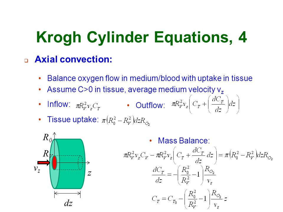 Krogh Cylinder Equations, 4  Axial convection: Balance oxygen flow in medium/blood with uptake in tissue Assume C>0 in tissue, average medium velocit